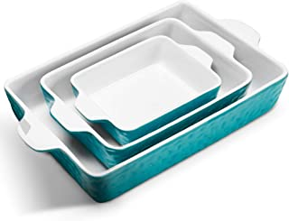 IPOW 3-Piece Ceramic Baking Dish, Value Three Pack Thick Porcelain Rectangular Oven to Table Bakeware Cookware Set Cassero...