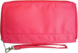Big Skinny Women's Panther Clutch Slim Wallet, Holds Up to 40 Cards, Coral