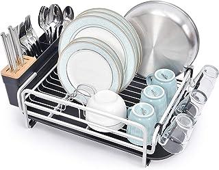 kingrack Égouttoir à vaisselle en aluminium, grand égouttoir à vaisselle avec plateau amovible, porte-couverts et porte-ve...