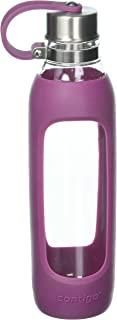 Contigo Purity Botella de vidrio para agua con cubierta de silicon, estilo casual, Rosado, 591 ml