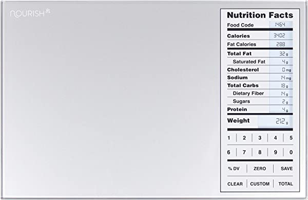Greater Goods Nourish Digital Kitchen Scale Food Scale With New Backlit Portions Nutritional Facts Display