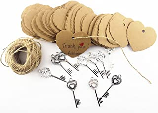 Aokbean 50 pcs Wedding Favors Vintage Rustic Skeleton Key with Escort LOVE Heart Gift Tag and Natural DIY Twine