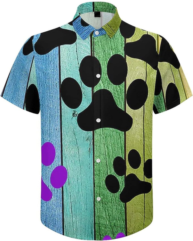 Mens Button Down Shirt Rainbow Wood Dog Paw Casual Summer Beach Shirts Tops
