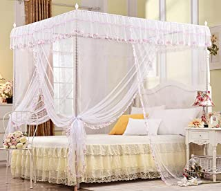 Nattey 4 Poster Corners Princess Bedding Curtain Canopy Mosquito Netting Canopies (Twin, White)