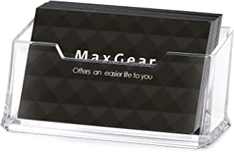 MaxGear Clear Business Card Holder Acrylic Business Card Stand for Desk Plastic Business Card Holder, Single Compartment, Fits 50-60 Business Cards Capacity, 4 Pack