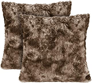 LANGRIA Set of 2 Decorative Faux Fur Cushion Covers 18x18, Soft Plush Shaggy Throw Pillow Case with Short Faux Fur and Hidden Zip Closure for Bed Sofa Couch - Filling Not Included (2-Pack, Brown)
