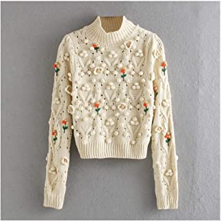 Top Women Sweater With O-neck Embroidery Knitted Casual Pullover Top Durable (Color : Ivory, Size : S)