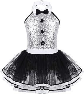 Freebily Paillettes Vestito da Ballerina con Tut/ú Danza Classica Ragazza Dots Vestito da Balletto Abito Pattinaggio Artistico per Gara Abito da Ballo Samba Rumba