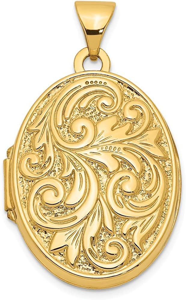 14k Yellow Gold Love You Always Swirl Reversible Photo Pendant Charm Locket Chain Necklace That Holds Pictures Oval Fine Jewelry For Women Gifts For Her
