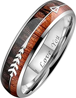 CROWNAL 6mm 8mm Tungsten Koa Wood Zebra Wood Arrows Meteorite Inlay Vikings Hunting Ring Band Silver/Black/Rose Gold Engraved I Love You Size 5 to 17
