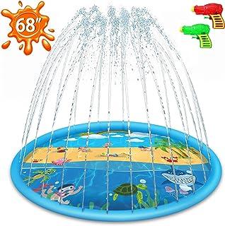 JollaLuna Splash Pad for Kids, Sprinkler Pad for Children, 68'' Inflatable Sprinkler & Wading Pool for Outdoor and Backyard, Splash Pad for Toddlers, Boys, Girls, Dogs (Blue)