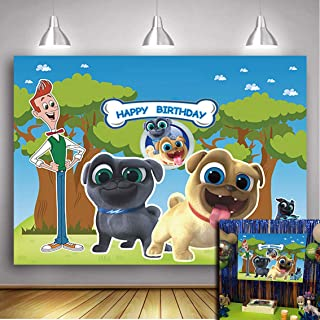 Daniu Cartoon Puppy Dog Pals Theme Backdrop Boys Girl Birthday Party Photography Background Cake Table Decorations Banner Baby Shower Photo Studio Booth Props 5X3FT Vinyl