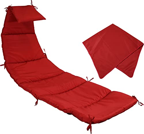 2021 Sunnydaze Outdoor Hanging Lounge Chair Replacement Cushion and Umbrella Fabric new arrival high quality - Red outlet sale