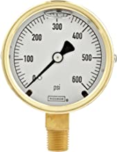"""NOSHOK 300 Series Brass Liquid Filled Dial Indicating Pressure Gauge with Bottom Mount, 2-1/2"""" Dial, +/-1.5% Accuracy, -30 inHg-0-15 psi Pressure Range"""