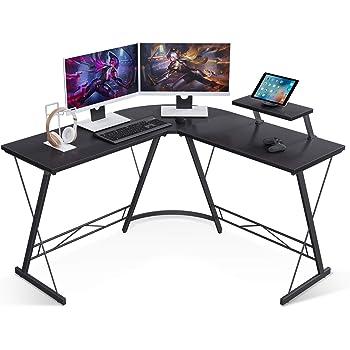 "Casaottima L Shaped Gaming Desk, 51"" Home Office Desk with Round Corner Computer Desk with Large Monitor Stand Desk Workstation,Black"