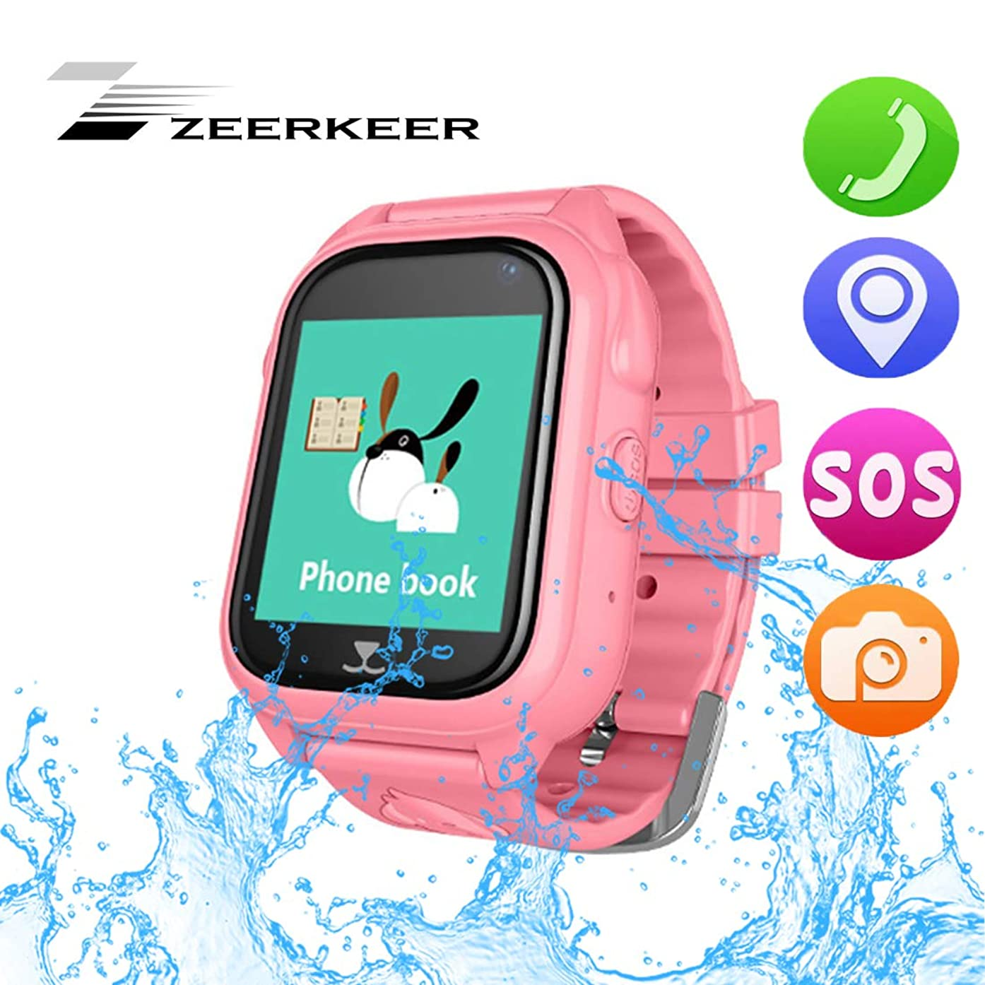 ZEERKEER Kids Smart Watch Phone with GPS Real-time Location Anti-Lost Digital Watch Accurate GPS Tracker Game Watches for Children Boys (Blue)
