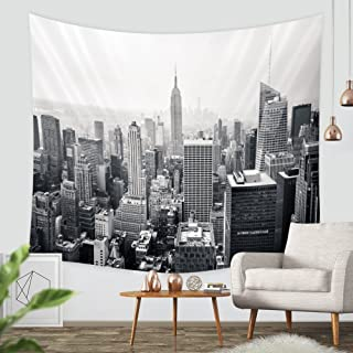 ZBLX New York City Tapestry Wall Hanging-Sunset Skyscrapers in New York Hanging Tapestry by for Home and Wall Decorations. (Black51.2 X59.1)