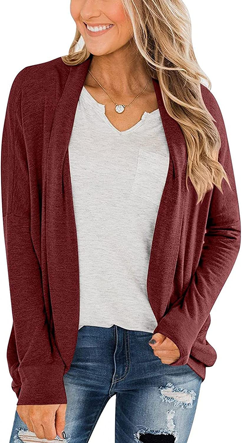 Eduavar Sweaters for Women Cardigan Long Sleeve Cable Knit Sweater Open Front Cardigan Tops Comfy Casual Loose Thin Coat