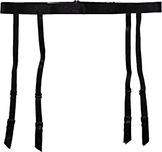 TVRtyle Women Black Simplicity Elasticity 4 Straps Metal Clips Sexy Garter Belt for Stockings S509