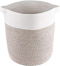 Lyricalife Woven Storage Basket, Extra Large Pure Cotton Organizer 20x19x19inches, Tall Basket with Generously Sized Handl...