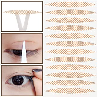 800PCS (400 Pairs) Single-Sided Lace Mesh Olive Breathable Double Eyelid Stickers Flesh-Colored Invisible No Trace Waterproof Long-Lasting Super Sticky Self-Adhesive Double Eye Tape Tools