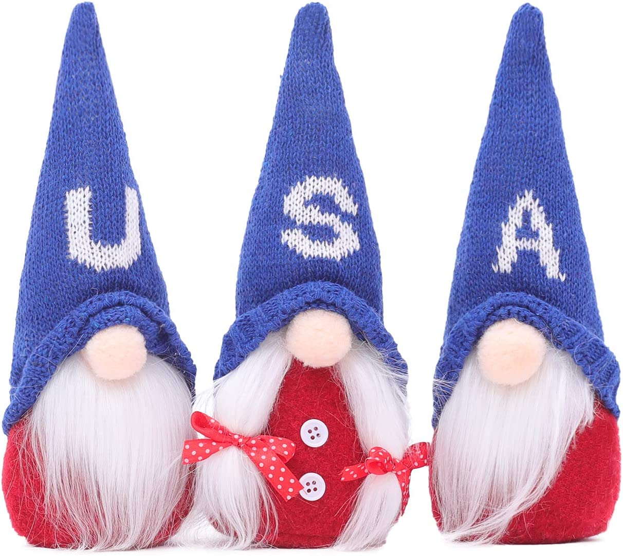 4th of July Patriotic Gnome Plush Decoration Uncle Sam Tomte for American Independence Day Gifts Red,Blue USA Hat Handmade Scandinavian Folklore Elf Dwarf Home Living Room Ornaments Kitchen Decor