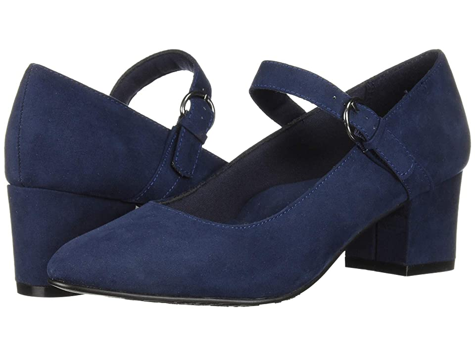 1960s Shoes: 8 Popular Shoe Styles Soft Style Dustie Navy Faux Suede Womens 1-2 inch heel Shoes $59.95 AT vintagedancer.com