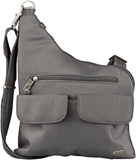 Travelon Anti-Theft Cross-Body Bag, Two Pocket, Pewter (Grey) - 4331335526