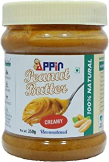 Appin™ All Natural Creamy Smooth unsweetened Peanut Butter | Only Peanuts,Gluten Free,no hydrogenated Oil,Vegan 350 gm
