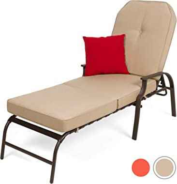 Best Choice Products Adjustable Outdoor Chaise Lounge Chair Furniture for Patio Poolside w/UV-Resistant Cushion - Beige