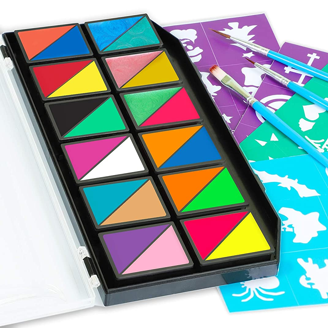 Face Paints & Body Paints Kits Kids Hypoallergenic Make up Palette-24 Colors with 36 Stencils, Three Fine Brush-Safe & Non-Toxic, Ideal for Halloween Party Face Painting - Easy to Wear and Remove