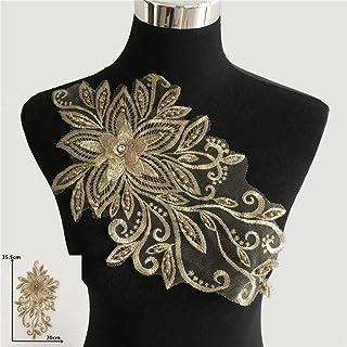 aifengxiandonglingbaihuo Hochwertige Gold-Stickerei Applique Blume 3D Nähen Lace Ausschnitt DIY ABS Perle Craft Tulle-Spitze-Kragen Bekleidung Accessoires
