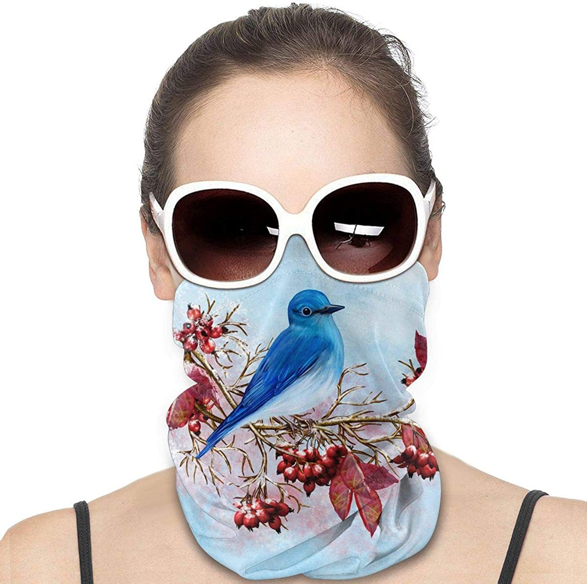 KiuLoam Women Bandanas Face Mask, Winter Blue Bird Sitting on Branch Neck Gaiter Mask Headband for Men Face Scarf Dust, Outdoors, Sports