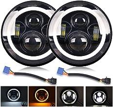 LED Round Headlight 7 inch Angel Eyes Amber White DOT E-MARK Approved 6000K Hi/lo Beam..