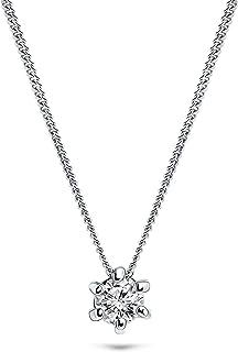 Miore - Cadena para mujer de 0,08 ct, con colgante de diamante, oro blanco de 14 quilates/585, longitud de 45 cm, joya con...