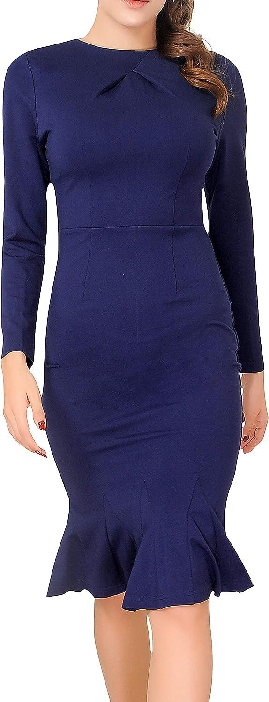 Women's Elegant Long Sleeve Party Evening Work Fishtail Midi Dress