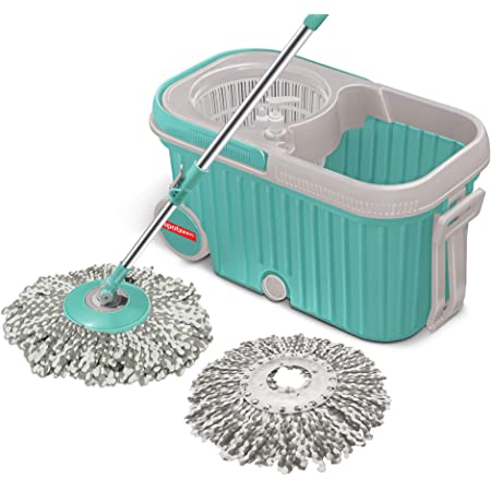 Spotzero by Milton Elite Spin Mop with Bigger Wheels and Plastic Auto Fold Handle for 360 Degree Cleaning (Aqua Green, Two Refills), 4 Pcs
