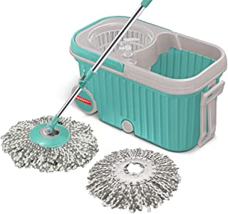Spotzero by Milton Elite Spin Mop with Bigger Wheels & Plastic Auto Fold Handle for 360 Degree Cleaning, (Aqua Green, Two ...