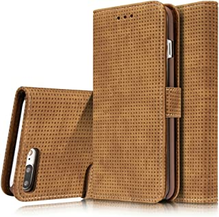 2018 Phone Covers for iPhone 8 Plus/iPhone 7 Plus Retro Style Mesh Breathable Horizontal Flip Leather Case with Card Slot & Holder & Wallet (Color : Brown)