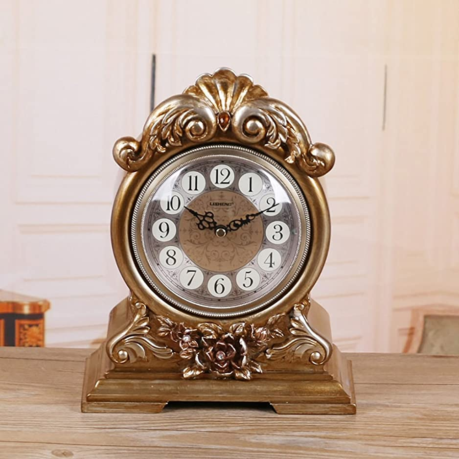 簡潔なうまくいけば目に見えるALUP- ヨーロッパのロゼットの静寂テーブルクロック振り子時計クオーツ時計レトロファッションクリエイティブベル勉強部屋のリビングルームの寝室の家の装飾 (色 : ブロンズ)