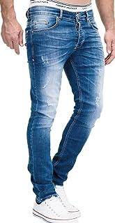MERISH 1507 - Jeans da uomo slim fit, elasticizzati, in denim