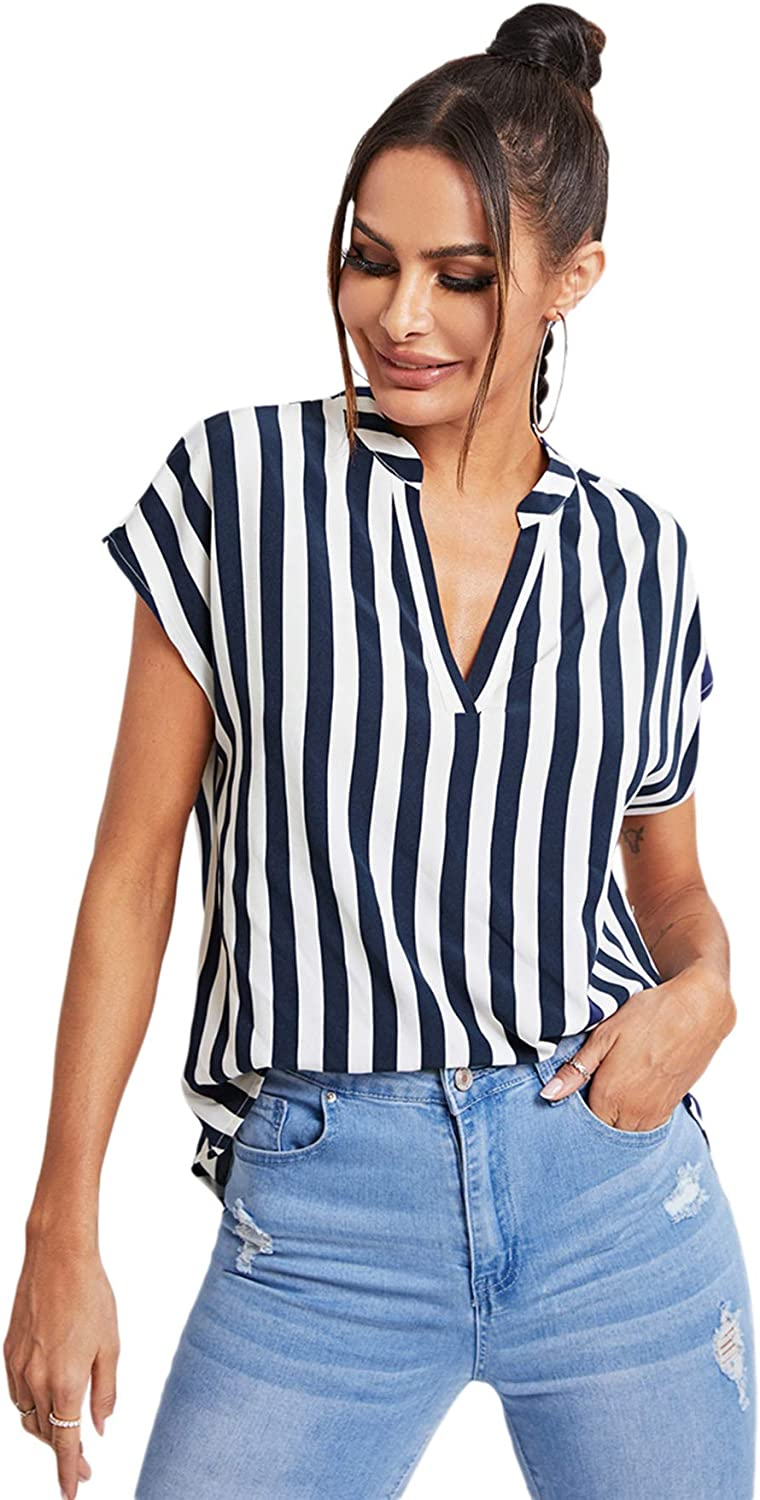 Milumia Women's Casual V Neck Striped Blouse Batwing Sleeve High Low Tunic Shirt Top