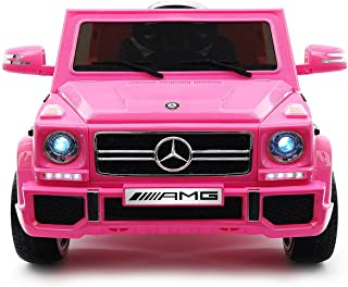 2019 Girls Holiday Mercedes Benz G Wagon Best Present Ride On Car includes Remote Control, 12V Battery Power Licensed Kids Car to Drive with 3 Speeds, Leather Seat