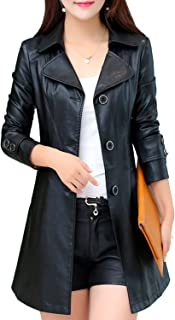 S&S-women Elegant Classic Lapel Single Breasted Faux Leather Trench Coat Jacket