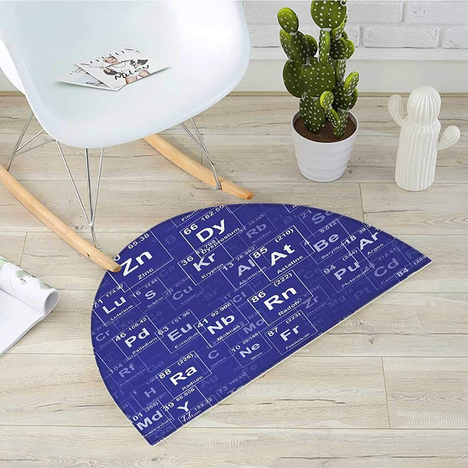 Periodic Table Half Round Door mats Chemistry Elements in Abstract Style Science Classroom Backdrop Bathroom Mat H 39.3  xD 59  Royal bluee and White
