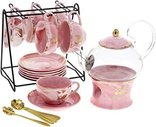 Liying 22-Piece Porcelain Ceramic Coffee Tea Gift Sets, Cups& Saucer Service for 6, Teapot with Lid Cover and Strainer,1 W...
