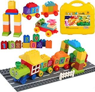 Trains 3-in-1 Building Set Building Kit, The First Number Train with Suitcase Toys to Ignite Your Child's Creativity, 62 P...