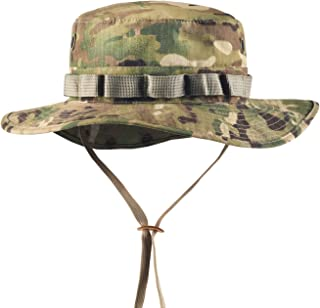 GLORYFIRE Boonie Hat Tactical Ripstop Headwear Bucket Hat with Map Pocket Chin Strap for Wargame Sports Hunting Fishing UV Protection Cap with Oversized Brim for Outdoor Military Hat with Brass Vents