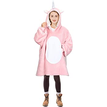 One Size Fits All Pink Super Soft Warm Comfy Plush Hooded Blanket for Kids and Girls Oversized Sherpa Blanket Sweatshirt with Hood Pocket and Sleeves Touchat Wearable Blanket Hoodie