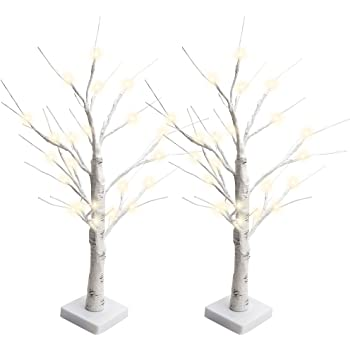 Amazon Com Jackyled Set Of 2 2ft 28 Led Birch Tree Light Battery Operated Warm White Lighted Tree Tabletop Bonsai Tree Light Jewelry Holder Decor For Home Wedding Party Festival Holiday Kitchen